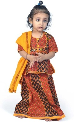 Indiangiftemporium Printed Girl's Lehenga, Choli and Dupatta Set