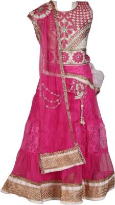 Crazeis Embroidered Girls Lehenga, Choli and Dupatta Set