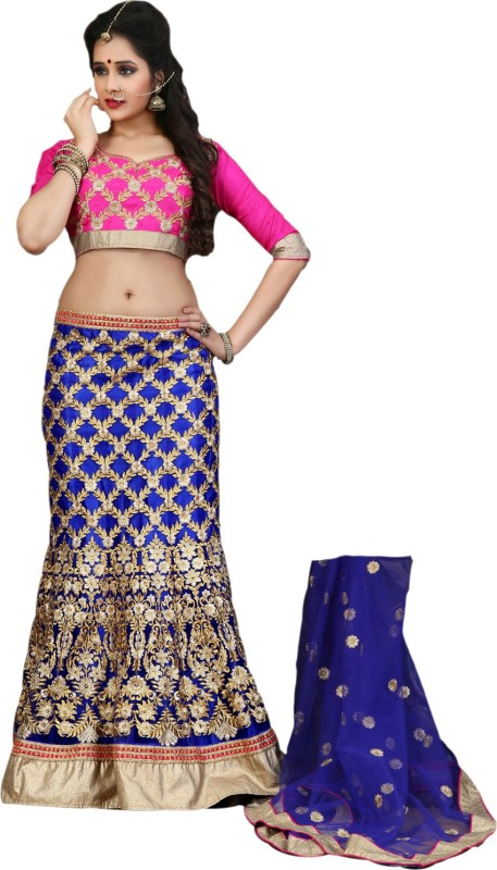 Go4fashion Embroidered Women's Lehenga, Choli and Dupatta Set(Stitched)