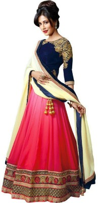 Vrundavan Ethics Embroidered Women's Lehenga, Choli and Dupatta Set