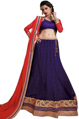DesiButik Embroidered Womens Lehenga, Choli and Dupatta Set(Stitched)