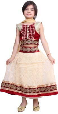 Tiny Toon Embroidered Lehenga, Choli and Dupatta Set