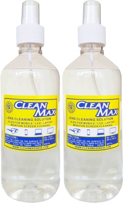 Cleanmax cleaning solution for Mobiles/Laptops/Lcd Monitors & Electronic boards. Lens Cleaner(500 ml, No Cloth inch, Pack of 2)