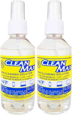 Cleanmax cleaning solution for Mobiles/Laptops/Lcd Monitors & Electronic boards. Lens Cleaner(200 ml, No Cloth inch, Pack of 2)