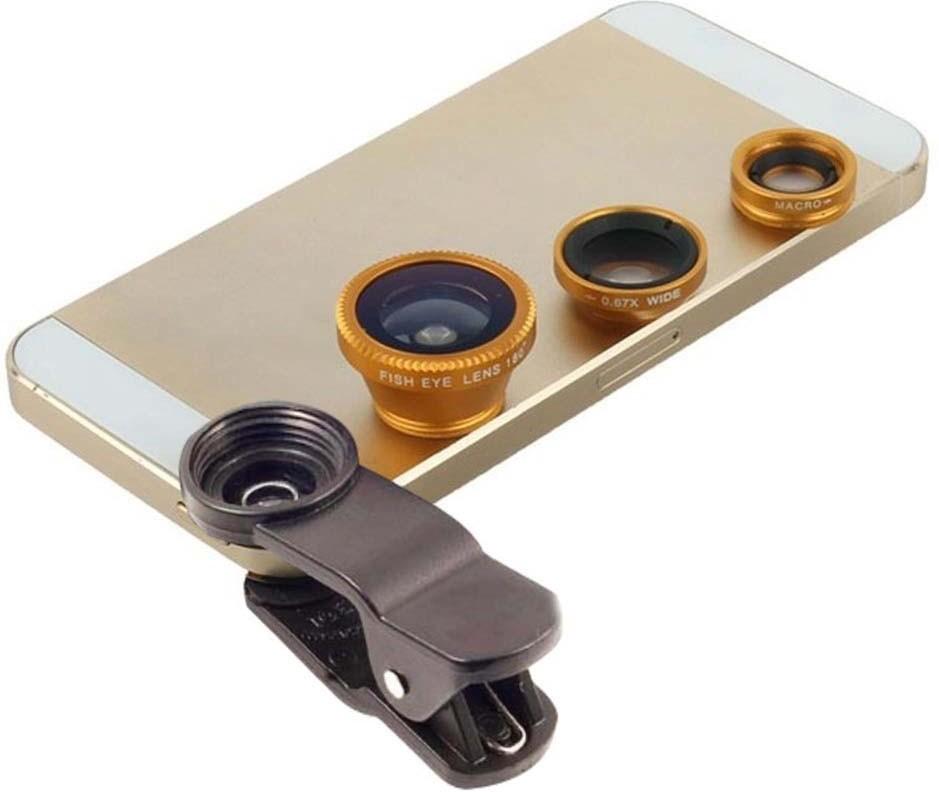 Fingers Universal 3 in1 Clip On Camera Lens Kit Wide Angle Fish Eye Macro Mobile Phone Lens(Wide and Macro, Fisheye)