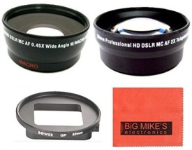 Big Mike s 52Mm 2X Telephoto Lens + 52Mm 0.45X Wide Angle Lens With Macro For Gopro Camera  Lens