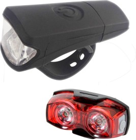 DarkHorse Imported Bicycle Front Light 3 Watt USB Silicon Rechargeable & 1 Watt 3 Mode Twin Eye Battery Rear Light Combo LED Front Rear Light Combo(Black, Red)