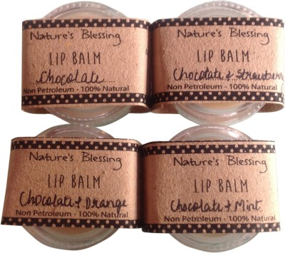 Nature's Blessing Lip Balm - Pack of 4 delicious flavours Chocolate & Orange, Chocolate, Chocolate & Mint, Chocolate & Strawberry
