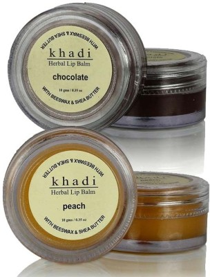 khadi Natural Lipcare Combo 2 - Chocolate, Peach Lip Balm Fruity-Flavour, Chocolate-Flavour