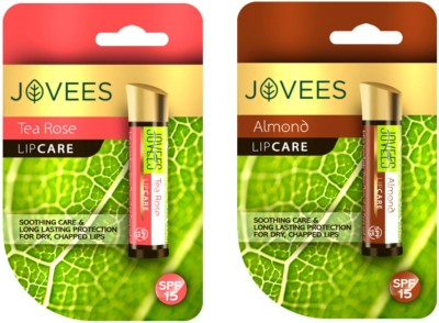 Jovees Lip Care Combo (Tea Rose, almond ) tea Rose, Almond