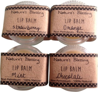 Nature's Blessing Lip Balm - Pack of 4 delicious flavours Strawberry, Orange, Mint, Chocolate