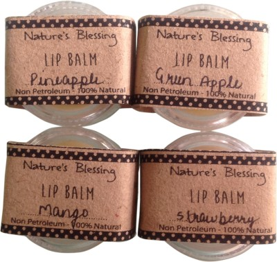 Nature's Blessing Lip Balm - Pack of 4 delicious flavours Pineapple, Greenapple, Mango, Strawberry