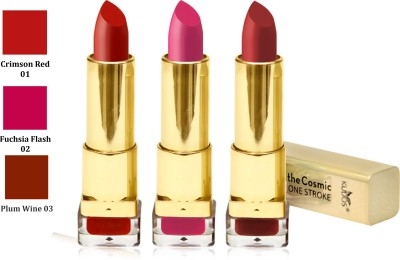 Kudos Color Expert One Strock Hydrating Lipstick Creamy & Luscious lips Crimson Red, Fuchsia Flash, Plum Wine 11.1 g