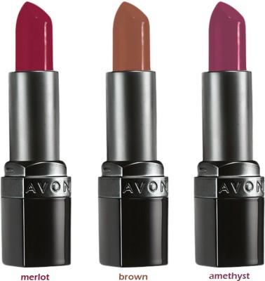 Avon Ultra Color Matte Lipstick (set of 3 of 3.8 g each) - merlot/ brown/ amethyst 11.4 g