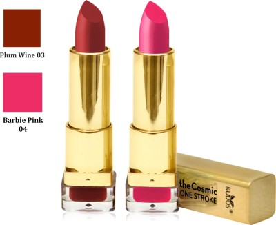 Kudos Color Expert One Strock Hydrating Lipstick Creamy & Luscious lips Plum Wine,Barbie Pink 7.4 g