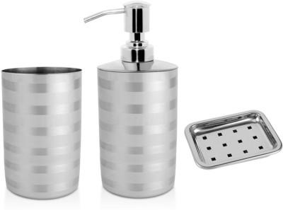 Karma Bath Set Of 3 Tumbler, Liquid Soap Dispenser & Soap Dish 250 ml Gel, Lotion, Soap, Shampoo Dispenser