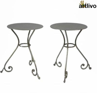 Artlivo Artlivo Set of 2 Metal Stools Metal Living Room Chair(Finish Color - Silver)