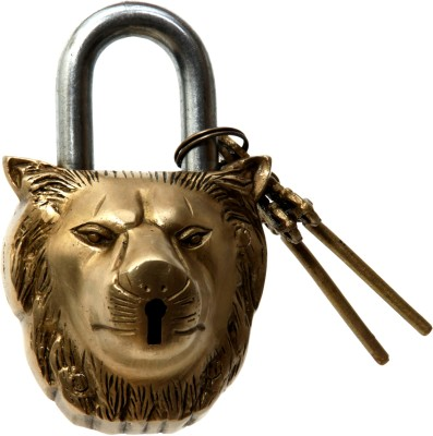 Aesthetic Decors Brass Lion Head Design Padlock