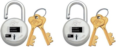 Godrej ROUND 10 LEVERS PACK OF 2 Padlock(Silver)
