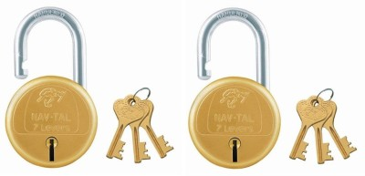 Godrej NAVTAL BRASS LOCK 7 LEVERS (4 KEYS) PACK OF 2 Padlock(GOLDEN)