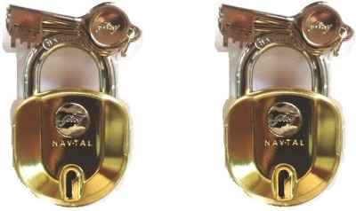 Godrej NAVTAL NXT LOCK 6 LEVERS (4 KEYS) PACK OF 2 Padlock(GOLDEN)