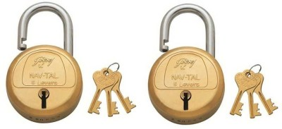 Godrej NAVTAL BRASS 6 LEVERS PACK OF 2 Padlock(GOLDEN)