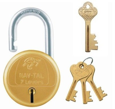 Godrej NAVTAL BRASS LOCK 7 LEVERS (4 KEYS ) Padlock(GOLDEN)