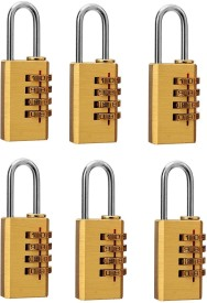 DOCOSS Set Of 6-4 Digit Brass Small Number Bag Travel Luggage Safety Lock(Gold)