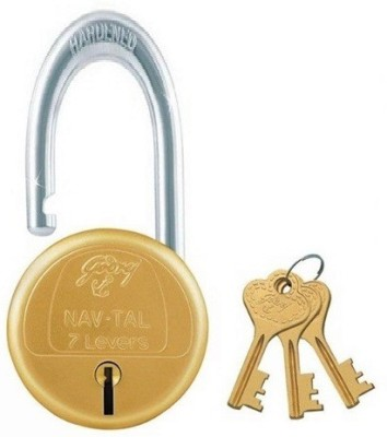 Godrej SHUTTER LOCK NAVTAL BRASS 7 LEVERS 50MM SHACKLE HEIGHT Padlock(GOLDEN)
