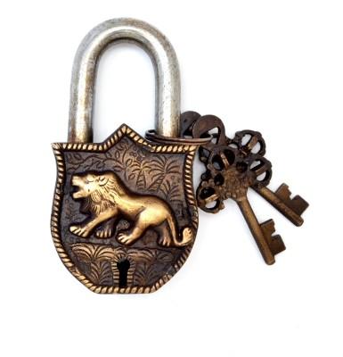 Handecor Designer Tiger Engraved Golden Functional Padlock