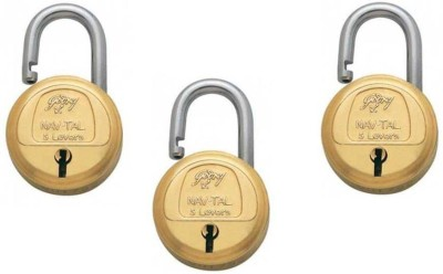 Godrej NAVTAL 5 LEVERS (PACK OF 3) Padlock(Gold)