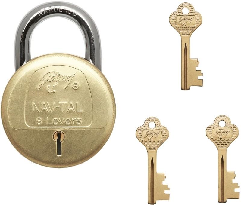 Godrej Navtal 8 Levers Deluxe Hardened - 3 keys Lock(Gold, Silver)