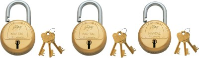 Godrej NAVTAL BRASS LOCK 6 LEVERS (3 KEYS) Padlock(GOLDEN)