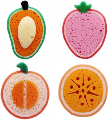 Tootpado Sponge Loofah 4 Pc Set (Mango, Melon, Orange, Strawberry Fruit Shape) - Bath & Body Bathroom Accessories Scrubbers