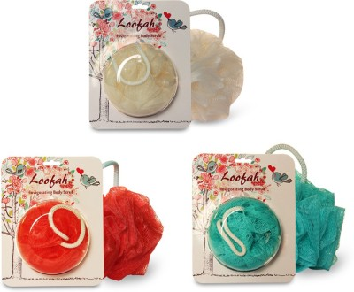 Loofah Set of 3 - Body scrub (Cream, Red & Green)