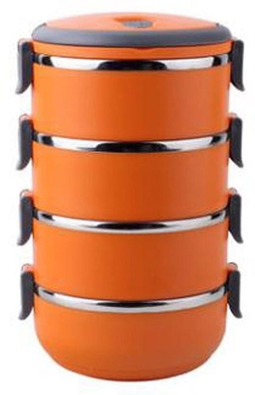 Blossoms 4 Layer Stainless Steel Orange Lunchbox(15X15X27 Cm,Orange) 4 Containers Lunch Box(2800 ml)