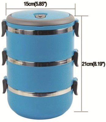 THW Triple Layer Easy Lock Stainless Steel L 3 Containers Lunch Box