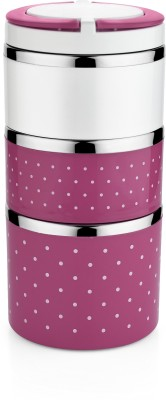 Classic Essentials Elegent Insulated Double Color 3 Containers Lunch Box