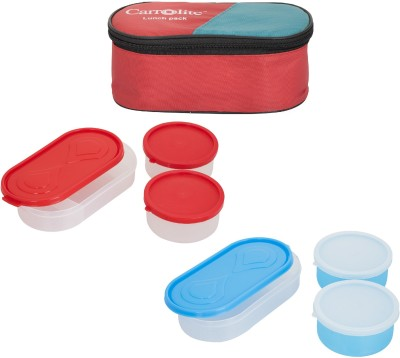 Carrolite Combo Red With 3 Container 6 Containers Lunch Box