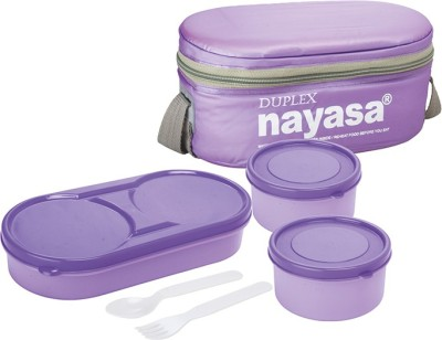 Nayasa Duplex Purple 3 Containers Lunch Box(350 ml)
