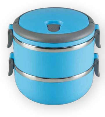 Blossoms Blue Stainless Steel Double Layer 2 Containers Lunch Box 2 Containers Lunch Box