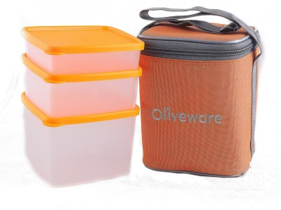 Oliveware LB50orange 3 Containers Lunch Box(1850 ml)