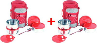La Steela Officer's Choice-4 Red Combo of 2 4 Containers Lunch Box
