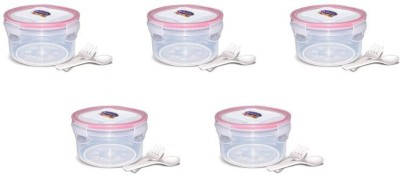 eGizmos Quick Lock Polypropylene (Pack of 5) 350ML Rectangle Shape 5 Containers Lunch Box