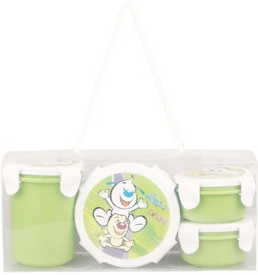 Pratap Hyper Locked Container Set green 4 Containers Lunch Box