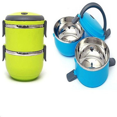 Shopper52 Stainless Steel Double Layer 2Pcs 1400ml - LUBX2P 2 Containers Lunch Box