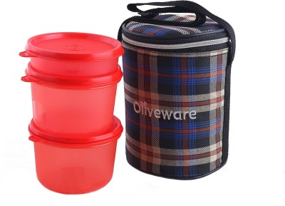Oliveware LB39Chkred 3 Containers Lunch Box