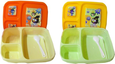 Goldcave Lunch Box for Kids -Three section 2 Containers Lunch Box