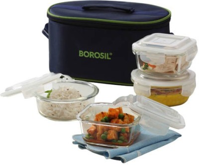 Borosil Microwavable Borosilicate Glass 4 Containers Lunch Box
