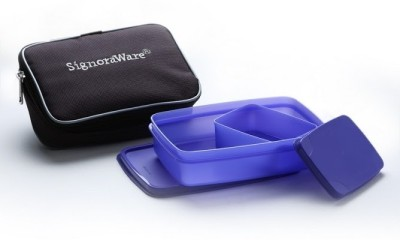 Signoraware Compact Lunch Box Small with Bag - Violet 2 Containers Lunch Box